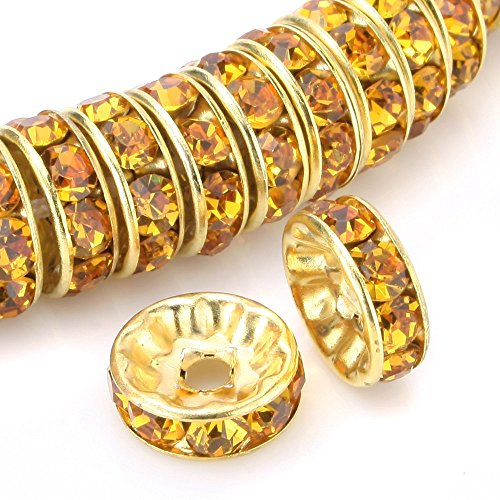 RUBYCA 100pcs Round Rondelle Spacer Bead Gold Tone 8mm Dark Amber Gold Czech Crystal
