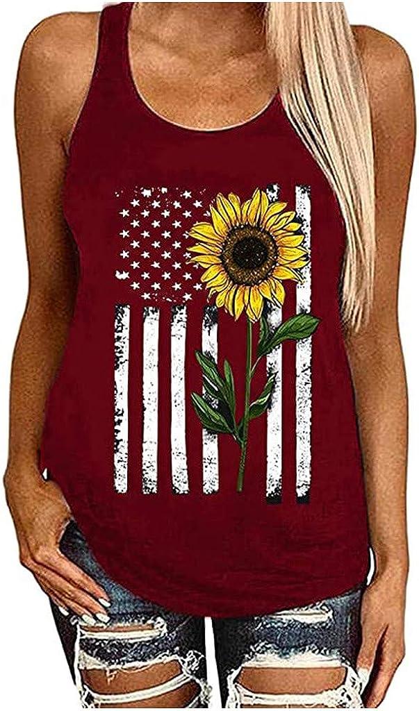 Fastbot women's Tank Tops Vest Sunflower Daisy Sleeveless Tunic Summer T Shirt Soft Cute Comfy Casual Cotton Tee Teens