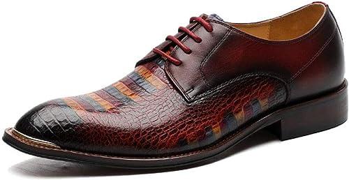 KDJFHD Chaussures en cuir pour hommes en cuir Chaussures de ville Robe derby peinte à la main à motif crocodile pour hommes