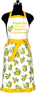 Amour Infini Citrus Splash Women�s Apron | 27.5 x 33 Inches | 100% Cotton Retro Chef Apron | Women Bib Apron for Cooking and Baking | Convenient Pockets on Each Side | Neck ties & Waist ties