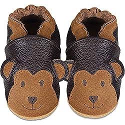 IceUnicorn Weiche Leder Babyschuhe Lauflernschuhe Krabbelschuhe Babyhausschuhe mit Wildledersohlen für Junge Mädchen Kleinkind(Brauner AFFE,12-18)