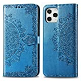 Compatible with Apple iPhone Xs MAX Case (2018 6.5') [Luxurious 3D Flower Folio Style] [Stand Feature] Protective PU Leather with Credit Card Slots+Side Cash Pocket+Magnetic Clasp Closure Cover-Blue