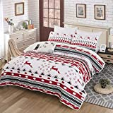 WONGS BEDDING Christmas Quilt Set,Bedspread Christmas Deer Santa Rudolph Deer Reindeer Printed with 2 Pillowcases,Snowflake Coverlet Bed Cover Queen Size 90' X 90'