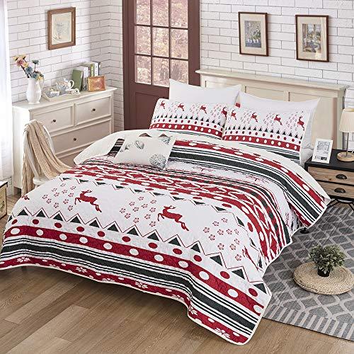 Christmas Quilt Set, Bedspread Christmas Deer Santa Rudolph Deer Reindeer Printed with 2 Pillowcases, Snowflake Coverlet Bed Cover King Size 90' X 103'
