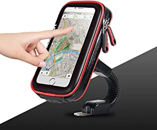 Ceuta Retails Premium Quality Waterproof Universal Polycarbonate Plastic Mobile Holder Zip Pouched Mount Stand for Bike/Motorcycle (Black, 5.5-7 inch)