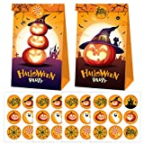 Cieovo 24 Pack Halloween Party Favor Bags Paper Gift Bags, Trick or Treating Candy Bags Goodie Candy Treat Bags with Stickers for Halloween Theme Party Supplies Decoration