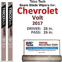 Beam Wiper Blades for 2017 Chevrolet Volt Driver & Passenger Trico Tech Beam Blades Wipers Set of 2 Bundled with Bonus MicroFiber Interior Car Cloth