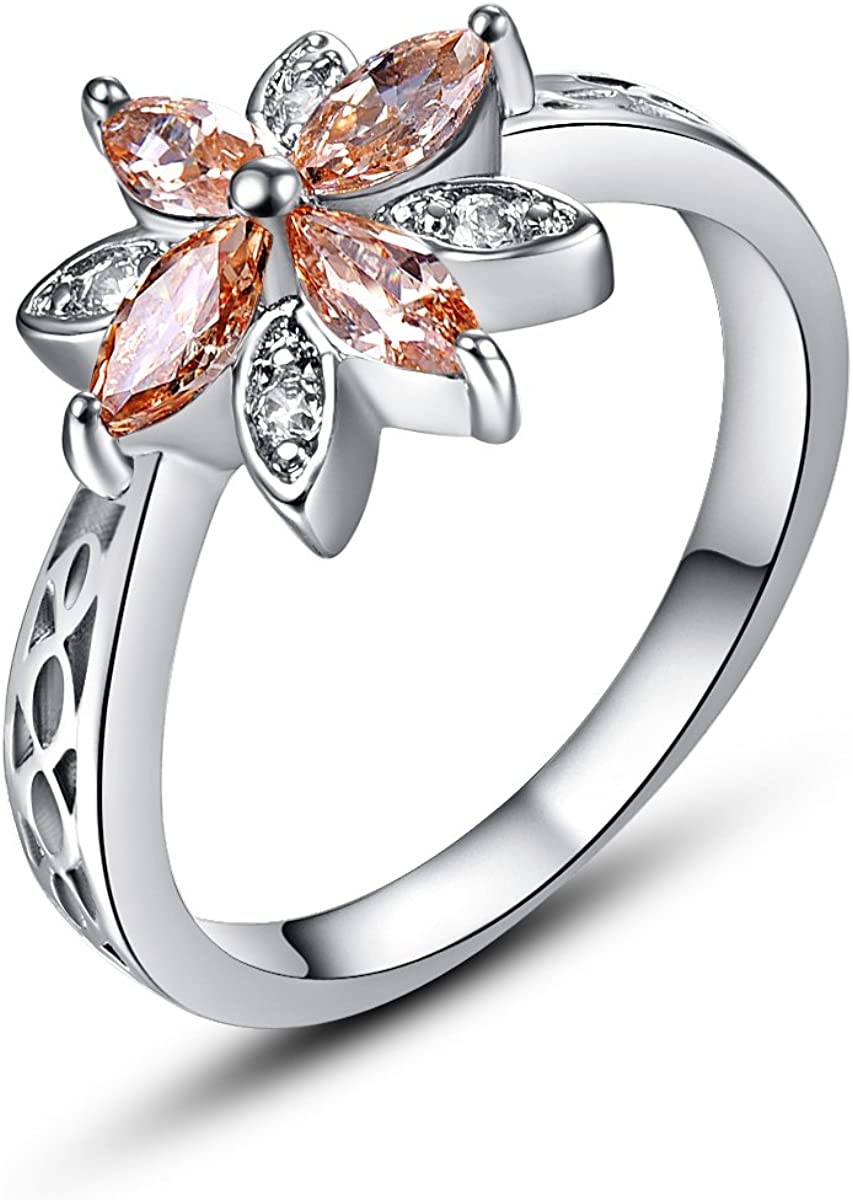 Psiroy half Max 68% OFF 925 Sterling Silver Created S Sapphire Flower Filled Blue