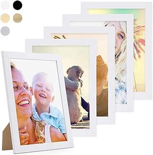 Photolini Juego de 5 Marcos 21x30 cm/DIN A4 Basic Collection Modernos, Blancos de MDF, Incluyendo Accesorios/Collage de Fotos/galería de imágenes