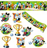 alles-meine.de GmbH 11 TLG. Set _ Fensterbilder + Wandborte -  Mickey Mouse mit Fußball  - Sticker Fenstersticker Aufkleber - selbstklebend + wiederverwendbar - Fensterbild / z..