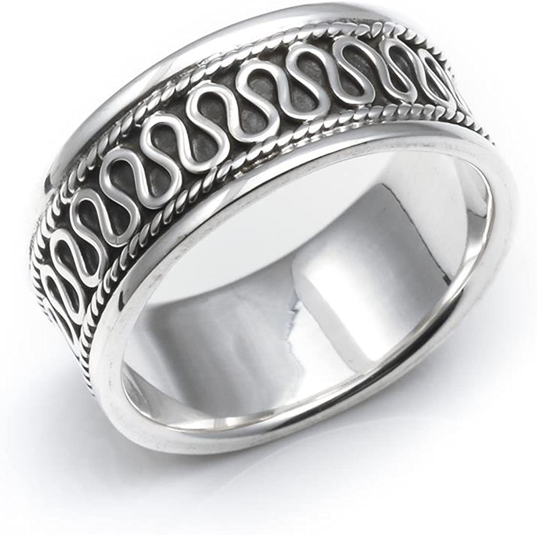 Silverly OFFicial store Women's Washington Mall Men's .925 Sterling Silver 8 Scroll mm Bal Rope
