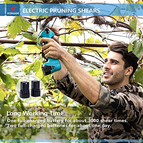 KOHAM Professional Cordless Electric Pruning Shears with 2 Pack Backup...