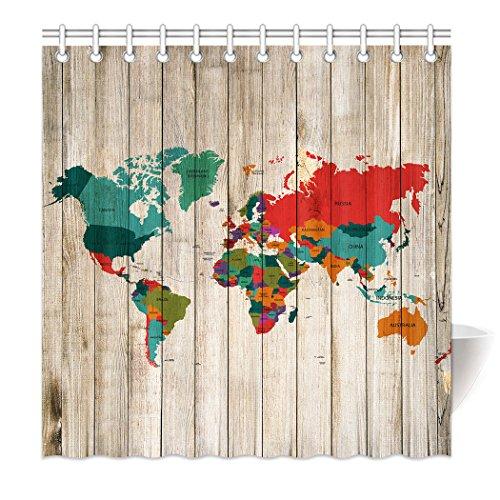 YISUMEI Hem Gewichte Vorhang Duschvorhang 180x200 cm Weltkarte Holztafel Holz Bild Bunt