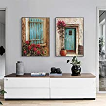 2 Pcs/Set Abstract Landscape Oil Painting Print On Canvas Window Door Flower Wall Art Pictures for Living Room Decor With Framed,as the pictures,40cm x 50 cm x2P