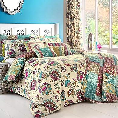 Foto di Dreams n' Drapes, Biancheria per letto King size, incl. Copripiumino Matrimoniale e federe, Multicolore (Teal)