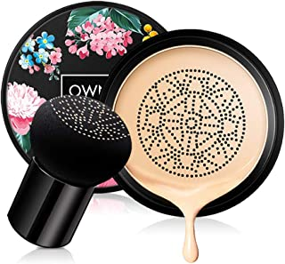 Ownest Mushroom Head Air Cushion BB Cream, Concealer Lasting Nude Makeup Moisturizing Brightening Pigment CC Liquid Foundation, Even Skin Tone Makeup Base Primer(Natural)