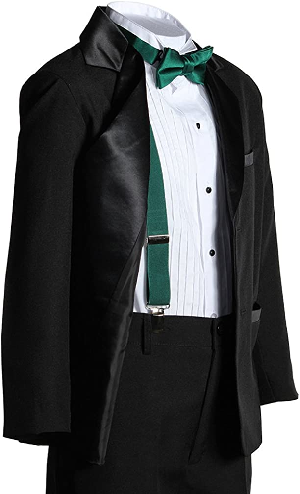 Kids Two Button Notch Tuxedo with Forest Green Suspender Bow Tie Set