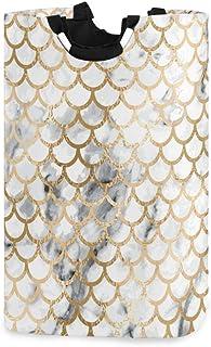 Panier à linge en écailles de poisson sirène Grandes sacs à vêtements pliables sales Étanche Durable Léger Oxford Rond Org...
