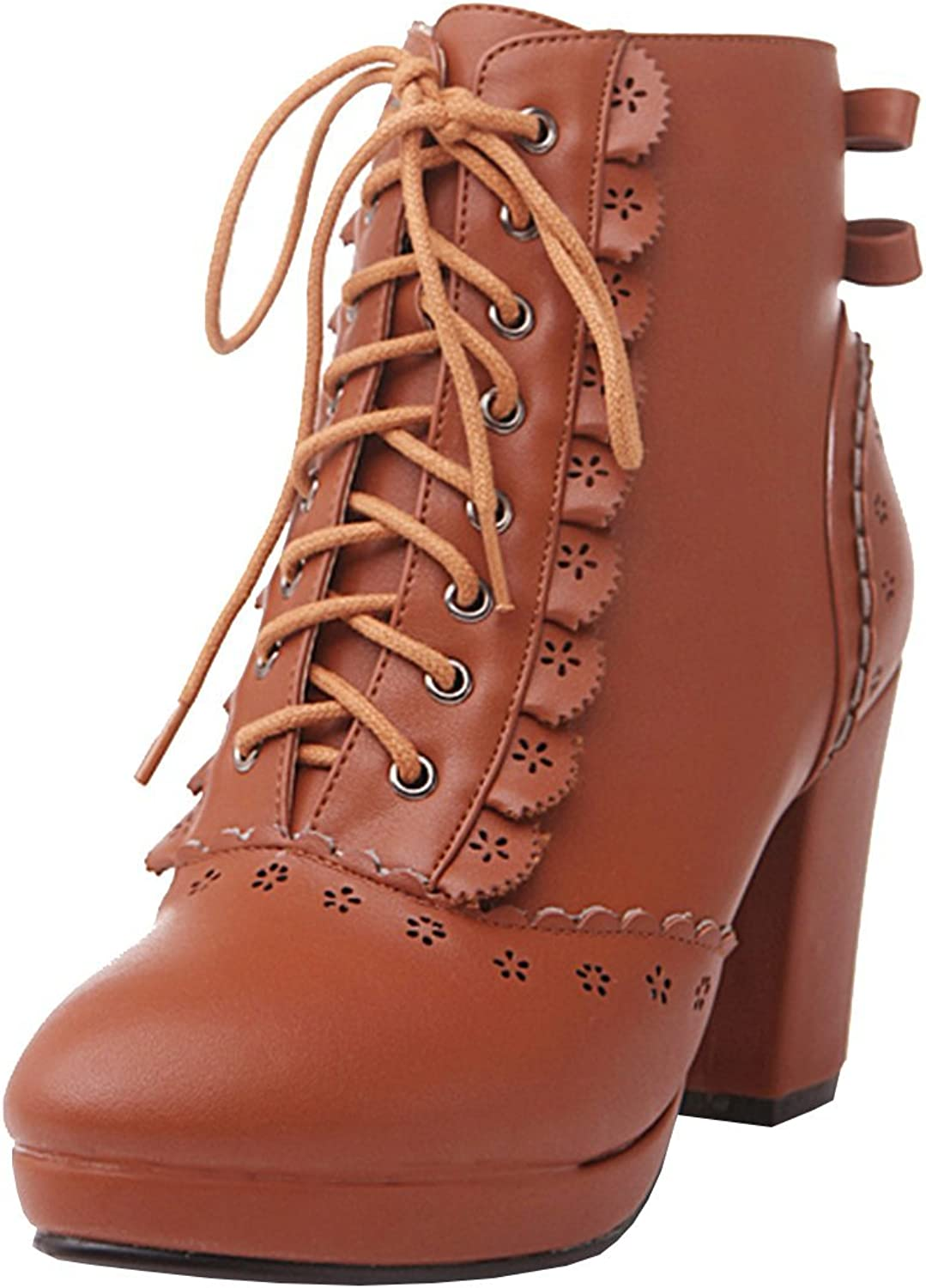 Artfaerie Women's Block High Heels Platform Lace Up Ankle Boots with Bows Sweet Retro shoes