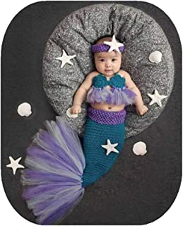 Newborn Baby Boy Girl Photo Shoot Props Outfits Crochet Knit Cute Purple Mermaid Bra Tail Outfits Photography Props