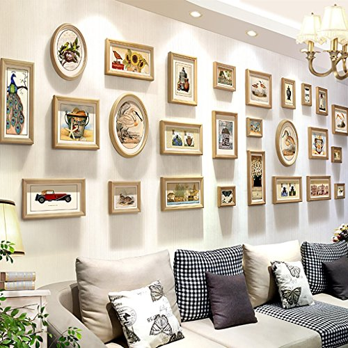 Hty xk Classique Bois Cadre Photo Collage Combinaison Salon Chambre Contexte Mur Cadre Mur Creative Combinaison Moderne Simple Restaurant Photo Mur (Couleur : A)