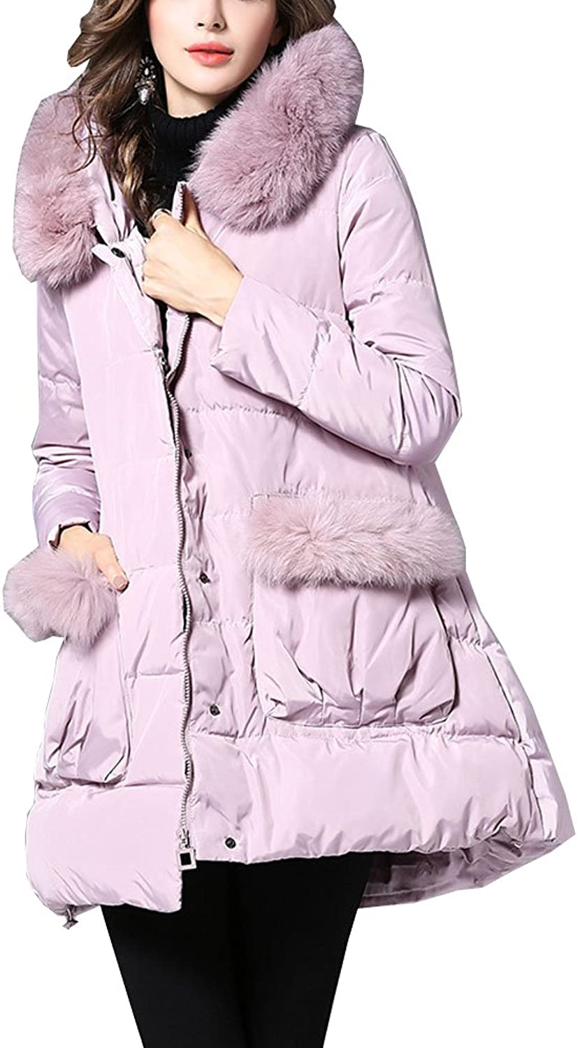 Allonly Women's 90% Down ZipUp Thicken Puffer Coat Down Jacket with Fur Hood