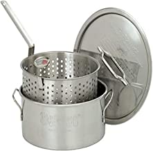 Bayou Classic 1101 10-Quart Stainless-Steel Fry Pot with Lid and Basket,Silver