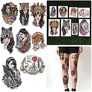 Tattify Cool Female Portrait Temporary Tattoos - Ladies Night (Set of 16 Tattoos - 2 of each Style) - Individual Styles Available - Fashionable Temporary Tattoos