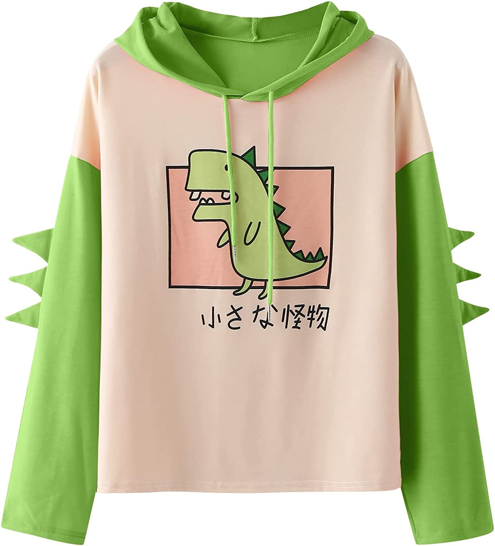 Women's Dinosaur Sweatshirt Long Sleeve Cute Max 46% OFF Splice Cartoon Branded goods Tops