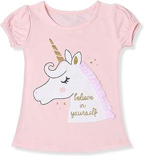 TTYAOVO Camiseta de Algodón Unicornio para Niñas, Camiseta de Manga Corta de Verano para Niños Camiseta de Impresión de Fi...