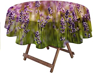 """carmaxsHome Table Cloth Lavender for Picnic Party Patio Table Camping Fragrant Gardening Plants 60"""" Round"""