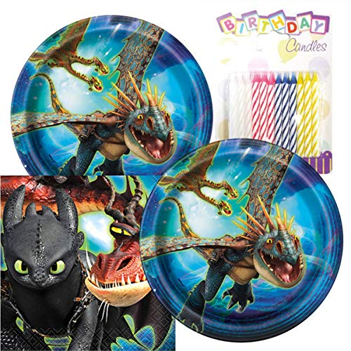 "How to Train Your Dragon The Hidden World Birthday Party Pack – Includes 7"" Paper Plates & Beverage Napkins Plus 24 Birthday Candles – Serves 16"