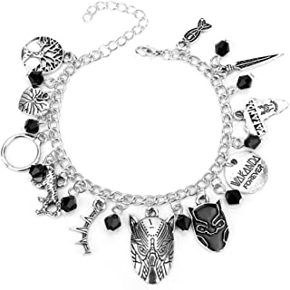 Black Panther Bracelet with Black Beads & Tribal Charms -Wakanda Forever