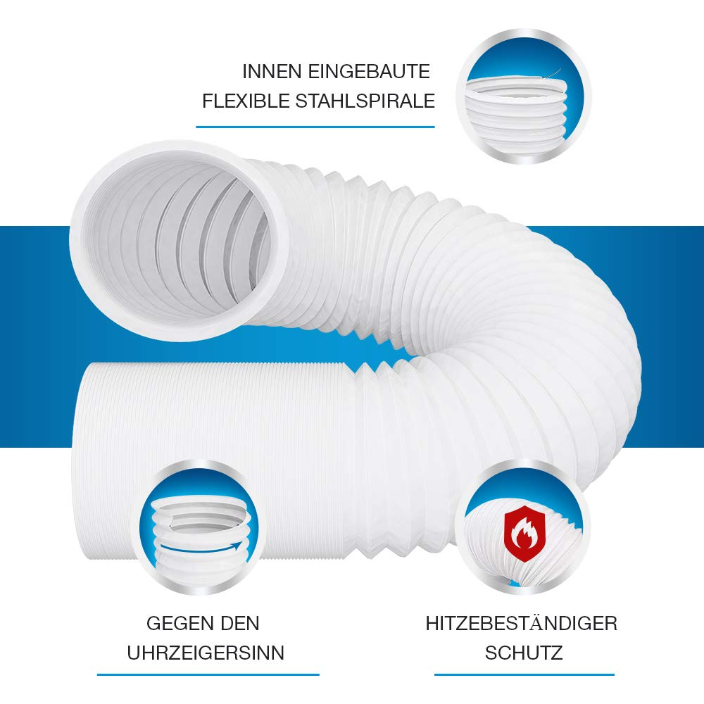 5m PVC Flexibler Schlauch f/ür Klimaanlage Klimager/ät Abzugshaube W/äschetrockner Trockner VIOKS Abluftschlauch 100mm