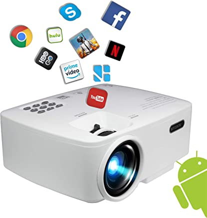 """$149 Get Projector, Smart Android WiFi Bluetooth Video Beam, by BeVision, 220 ANSI Lumen 180"""" Max for Movie Games, Quiet Fan, Built-in Speaker with HDMI VGA USB AV Ports"""