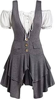Women's Casual Single Breasted High Low Hem Lace Up Layered Vest Coat Classic Cotton Lolita Dress 2 Pieces LIM&Shop
