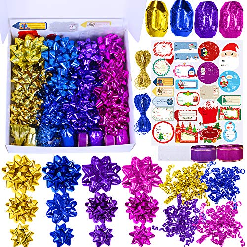 51 Set Christmas Gift Bows Ribbon Assortment Self Adhesive Gift Wrapping Package Bow Small Medium Big Present Bow Metallic Shiny Holographic Blue Purple Gold Fuchsia Bow for Holiday Party Gift Basket