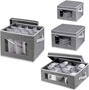 China Dinnerware Storage Containers Set - Stackable Stemware Storage Box,Mugs and Dishes Organizer Chest with Lid and Clear Windows,Polyester fabric with Felt Plate Dividers,Set of 4 Grey