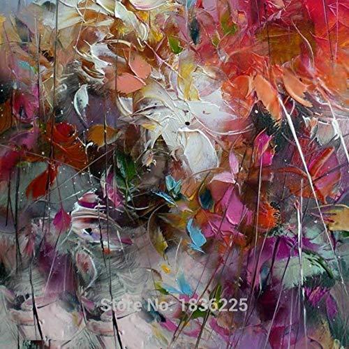 WunM Studio Olieverfschilderijen Op Doek Handgeschilderd, Abstract Landschap Schilderij, Kleurrijke Shabby Bloemen, Grote Maat Moderne Europese Kunst Muurdecoratie Voor Toegang Woonkamer Volwassenen Geschenken 50 x 50 cm