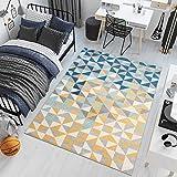 Tapiso Lazur Alfombra de Salón Dormitorio Juvenil Diseño Moderno Gris Azul Amarillo Crema Mosaico Friso 160 x 220 cm