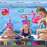 NCTP Inflatable Pool Ring Toss Game for Kids, Ring Toss Pool Party Game for Party Inflatable Floating Party Favor Flamingo Party Supplies Decoration for Kids Funny Family Indoor Outdoor Game Set