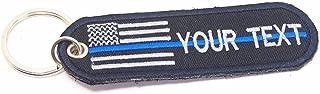 Custom Name American Flag USA Flag Blue LINE Embroidered TAG Keychain Key Holder