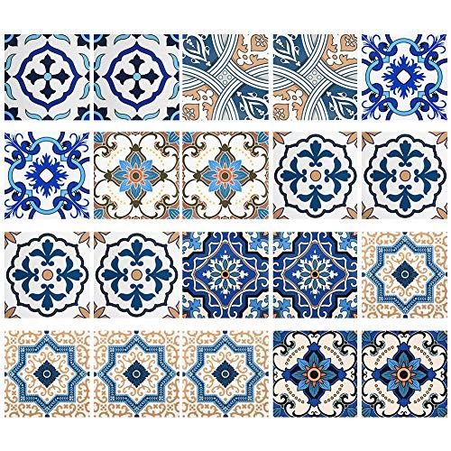 Irich 20 Stück 15 * 15 cm PVC Fliesensticker, Selbstklebende Klebefolie Fliesen, Wasserdicht & Ordentlich für Küche Bad Wände Badezimmer Blaue Blume