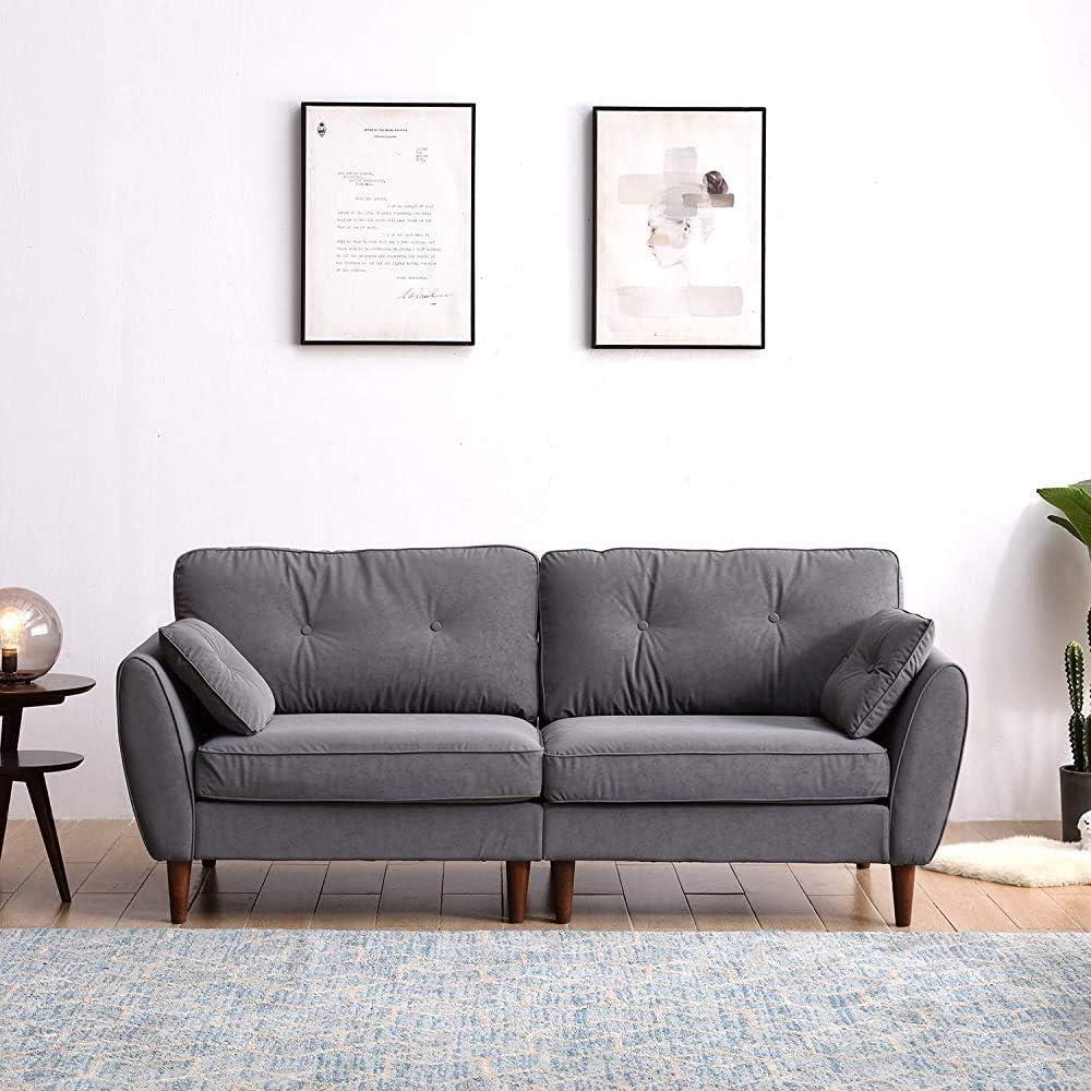 ACWZX Retro Look Proporciona una c/ómoda posici/ón de asiento de cerezo muebles de tela de algod/ón sof/á gris, 2 plazas