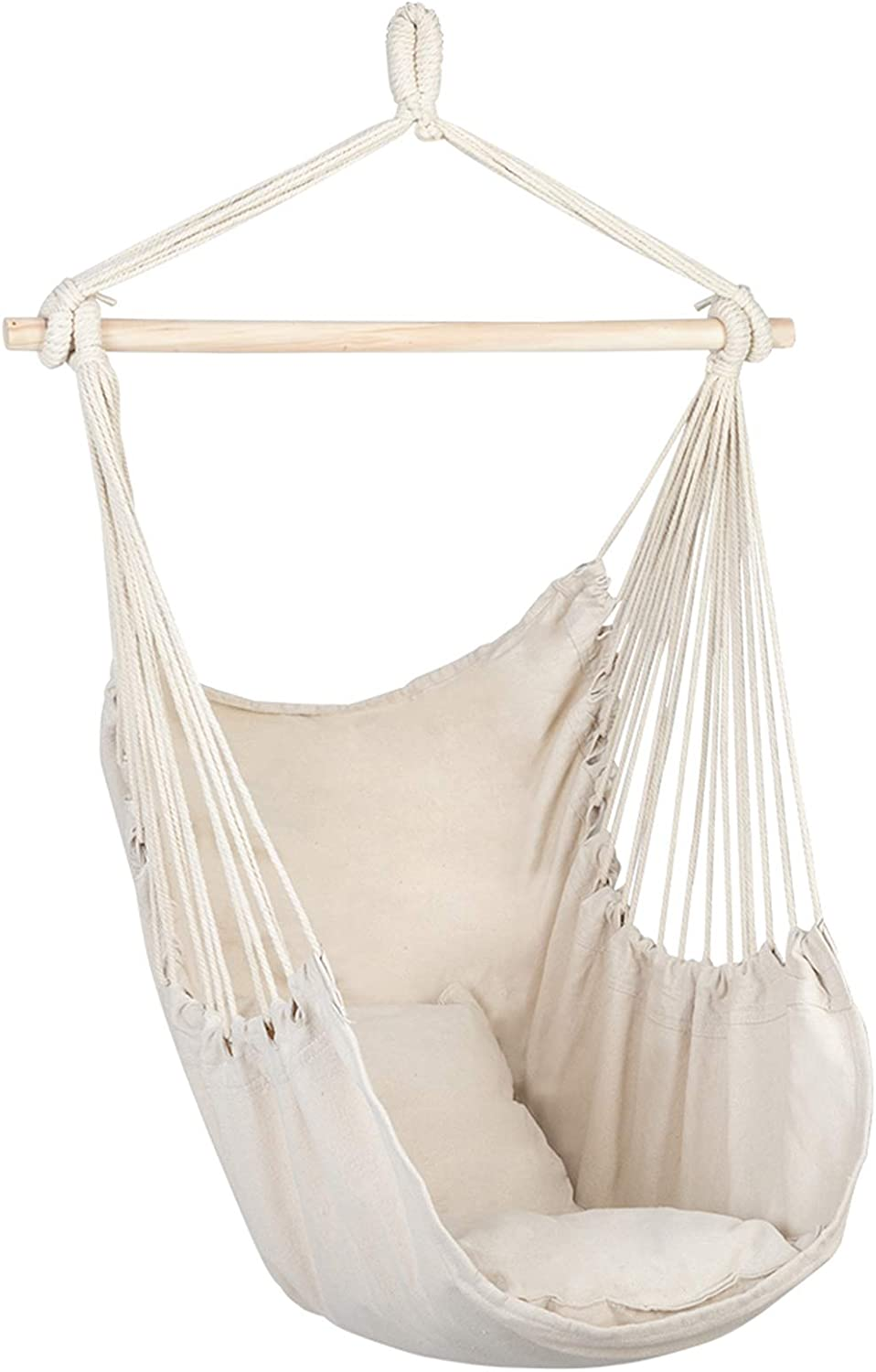 Hanging Limited time sale Rope Chair New York Mall with 2 Hammock Seat Pillows Porch Swing