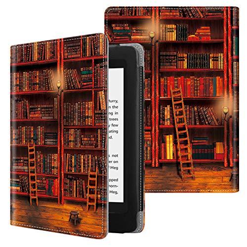FINTIE Custodia per Kindle Paperwhite (10ª Generazione 2018 & all Paperwhite Generazione) - Folio Cover in PU Pelle con Funzione Auto Sveglia/Sonno, Biblioteca