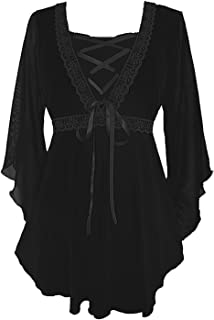 Dare to Wear Bewitched Corset Top: Victorian Gothic Medieval Women's Maiden Blouse for Everyday Halloween Cosplay Festivals