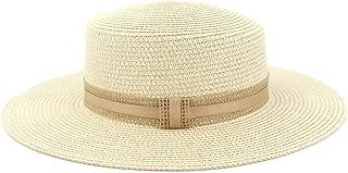 Flat Wide Brim Sunshade Flat Top Hat Fashion Beach Sun Hat New Women Jazz Straw Sun Hat Outdoor Sun Hat (Color : 1, Size : 56-58CM)