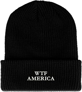 Trendy Apparel Shop WTF America Embroidered Ribbed Cuffed Knit Beanie