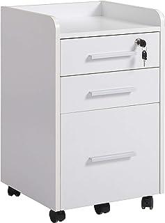 Caisson de bureau rangement bureau sur roulettes 3 tiroirs 1 verrouillable 1 trieur dossiers MDF panneaux particules blanc
